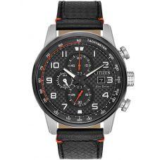 Citizen Mens Primo Chronograph Black Leather Strap Watch CA0681-03E