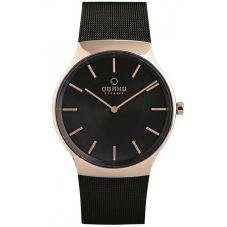 Obaku Mens Rose Gold Plated Mesh Bracelet Watch V178GXVBMB