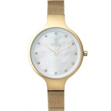 Obaku Ladies Mother of Pearl Gold Plated Mesh Bracelet Watch V173LXGGMG