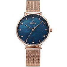 Obaku Ladies Rose Gold Plated Blue Mesh Bracelet Watch V186LXVLMV