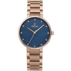 Obaku Ladies Rose Gold Plated Blue Bracelet Watch V189LXVLSV