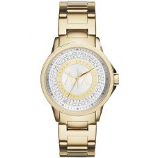 Armani Exchange Ladies Gold Plated Stone Set Bracelet Watch AX4321