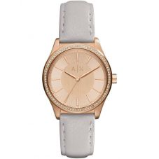 Armani Exchange Ladies Rose Gold Plated Grey Strap Watch AX5444