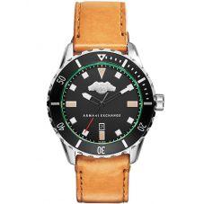 Armani Exchange Mens Black Logo Brown Leather Strap Watch AX1707