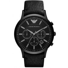 Emporio Armani Mens Chronograph Black PVD Leather Strap Watch AR2461