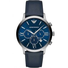 Emporio Armani Mens Giovanni Blue Chronograph Dial Leather Strap Watch AR11226