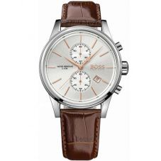 BOSS Mens Jet Chronograph Brown Leather Strap Watch 1513280
