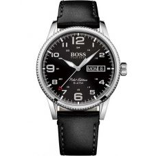BOSS Mens Pilot Vintage Black Leather Strap Watch 1513330