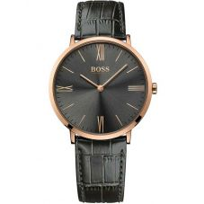BOSS Mens Jackson Grey Leather Strap Watch 1513372