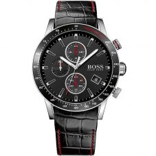 BOSS Mens Rafale Chronograph Black Leather Strap Watch 1513390