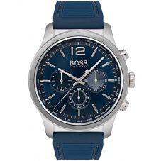 BOSS Mens The Professional Chronograph Blue Rubber Strap Watch 1513526