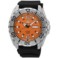 Seiko Mens 5 Baby Monster Automatic Orange Rubber Strap Watch SRPB39K1