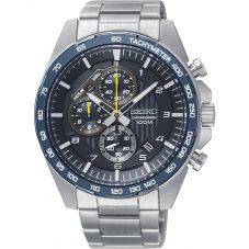 Seiko Mens Discover More Motorsport Chronograph Blue Bracelet Watch SSB321P1