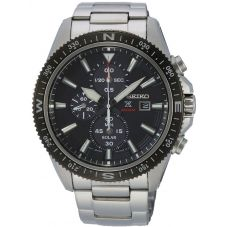Seiko Mens Prospex Solar Chronograph Black Bracelet Watch SSC705P1