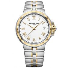 Raymond Weil Mens Parsifal Two Tone Classic White Dial Bracelet Watch 5580-STP-00308