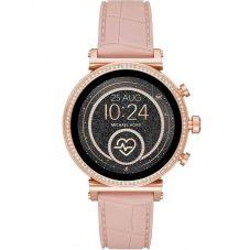 Michael Kors Ladies Access Sofie Gen 4 Rose Gold Plated Crystal Bezel Pink Rubber Strap Smartwatch MKT5068