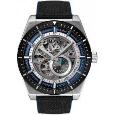 BOSS Mens Signature Automatic Skeleton Black Fabric Strap Watch 1513643