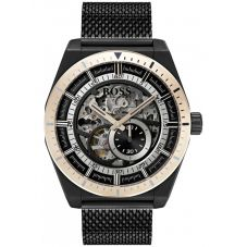 BOSS Mens Signature Automatic Skeleton Black Mesh Bracelet Watch 1513655