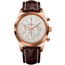 Breitling Mens Transocean Chronograph Leather Strap Watch RB015212-G738 737P