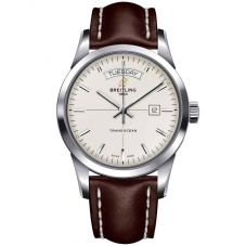 Breitling Mens Transocean Day & Date Leather Strap Watch A4531012-G751 437X