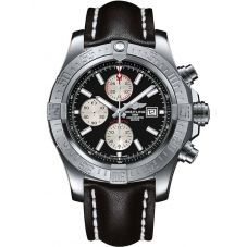 Breitling Mens Super Avenger II Leather Strap Watch A1337111/BC29 441X