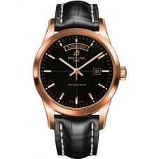 Breitling Mens Transocean Day & Date Leather Strap Watch R4531012/BB70 744P