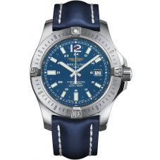 Breitling Mens Chronomat Colt Automatic Blue Leather Strap Watch A1738811/C906 112X
