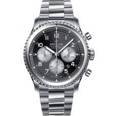 Breitling Mens Navitimer 8 B01 Chronograph 43 Black Steel Bracelet Watch AB0117131B1A1