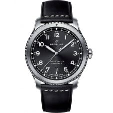 Breitling Mens Navitimer 8 Automatic 41 Black Leather Strap Watch A17314101B1X1