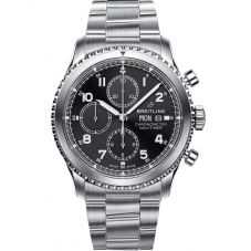 Breitling Mens Navitimer 8 Chronograph 43 Black Leather Strap Watch A13314101B1A1