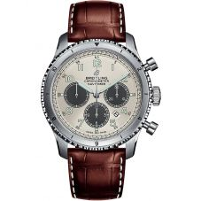 Breitling Mens Navitimer 8 B01 Chronograph 43 Brown Leather Strap Watch AB01171A1G1P1