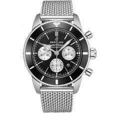 Breitling Mens Superocean Heritage II B01 Chronograph Black Bracelet Watch AB0162121B1A1