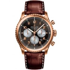 Breitling Mens Navitimer 8 B01 Chronograph 43 Rose Gold Bronze Brown Leather Strap Watch RB0117131Q1P1