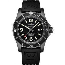 Breitling Mens Superocean Automatic 46 Blacksteel Rubber Strap Watch M17368B71B1S1
