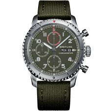 Breitling Mens Navitimer Aviator 8 Chronograph 43 Curtiss Warhawk Green Fabric Strap Watch A133161A1L1X2