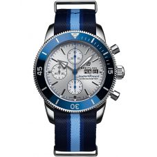 Breitling Mens Superocean Heritage II Chronograph 44 Ocean Conservancy Limited Edition Blue Fabric Strap Watch A133131A1G1W1