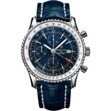 Breitling Mens Navitimer 1 Chronograph GMT 46 Blue Leather Strap Watch A24322121C2P1