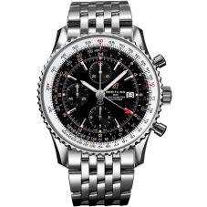 Breitling Mens Navitimer 1 Chronograph GMT 46 Black Bracelet Watch A24322121B2A1