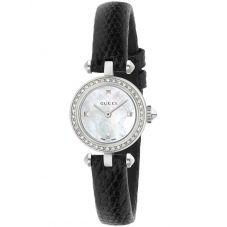 Gucci Ladies Diamantissima Small Diamond Dial Leather Strap Watch YA141511