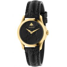Gucci Ladies G-Timeless Gold Plated Black Dial Leather Strap Watch YA126581
