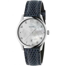 Gucci Ladies G-Timeless Medium Mother Of Pearl Dial Marine Blue Leather Strap Watch YA1264049