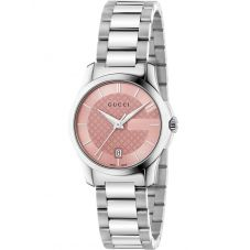 Gucci Ladies G-Timeless Blush Dial Stainless Steel Bracelet Watch YA126524