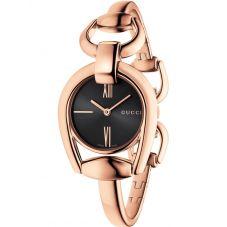 Gucci Ladies Horsebit Rose Gold Plated Black Dial Bangle Watch YA139507
