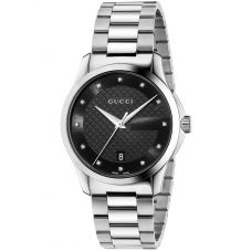 Gucci Mens G-Timeless Black Diamond Set Dial Bracelet Watch YA126456