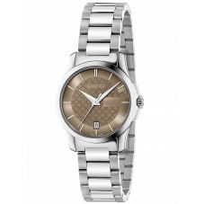 Gucci Ladies G-Timeless Stainless Steel Light Brown Dial Bracelet Watch YA126526