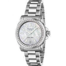 Gucci Ladies Dive Stainless Steel Mother Of Pearl Dial Bracelet Watch YA136406