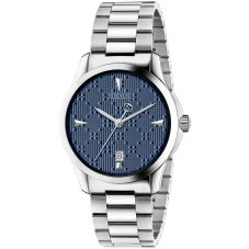 Gucci Unisex G-Timeless Stainless Steel Textured Blue Dial Bracelet Watch YA1264025