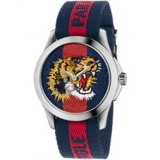 Gucci Mens Le Marche Des Merveilles Tiger Motif Multicolor Fabric Strap Watch YA126495