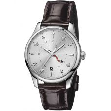 Gucci Mens G-Timeless Automatic Brown Leather Strap Watch YA126332