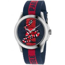 Gucci Mens Le Marche Des Merveilles Embroidered Snake Multicolor Fabric Strap Watch YA126493